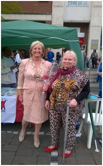 One of our members Rachel with the Mayor Phillipa Chowder in Romford market for Hunn May 2017